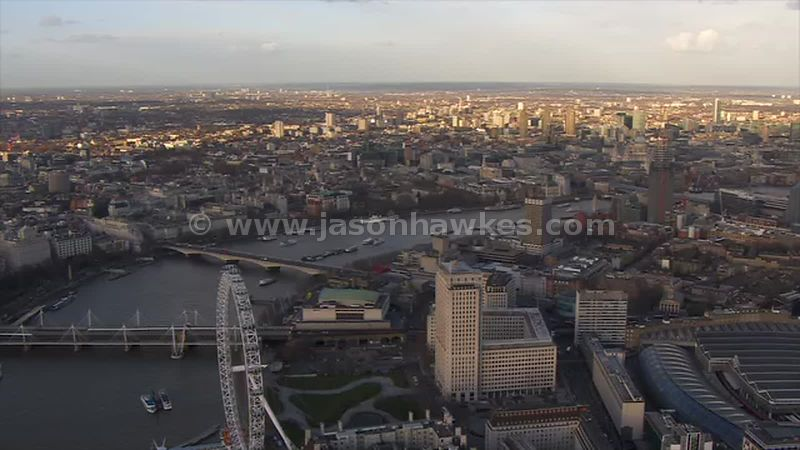 Aerial footage of South Bank, London