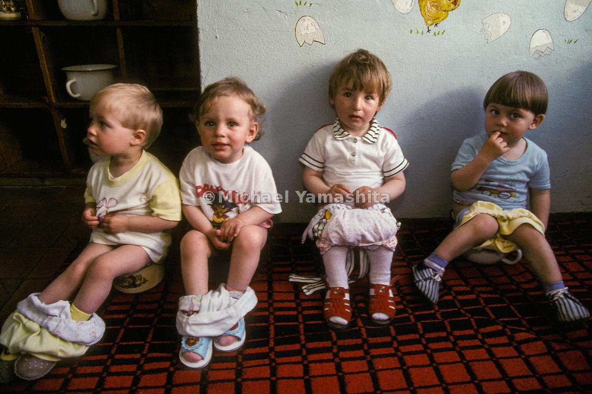 Group potty training at Paramushir Nursery School.