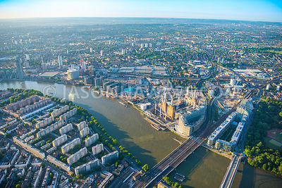 Aerial view of London, Battersea Power Station redevelopment and Pimlico.
