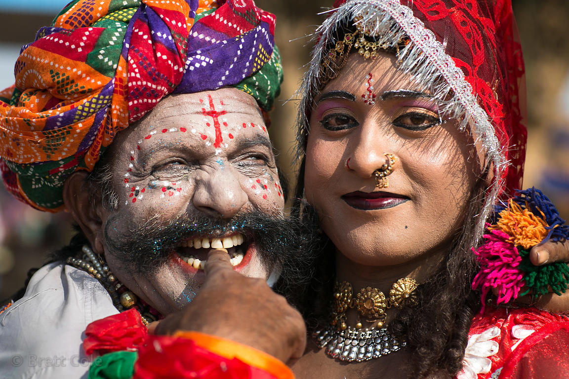 Characters in makeup during the Pushkar Camel Fair, Pushkar, Rajasthan, India