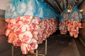 Photo de quartiers de porc dans un abattoir
