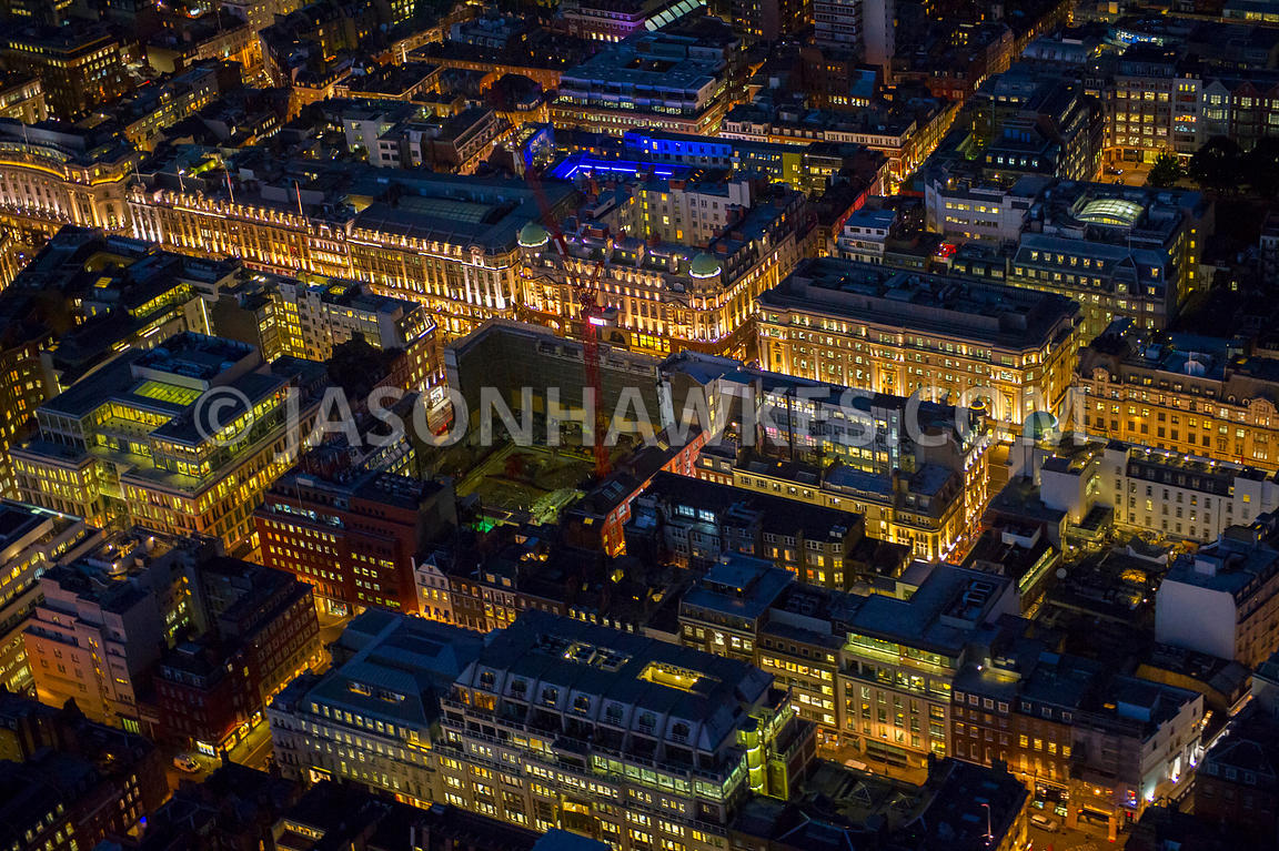 Aerial view of Regent Street and Savile Row at night, London