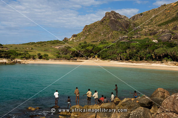 boys fishing, Lokaro Bay near Taolagnaro (Fort Dauphin),  Madagascar
