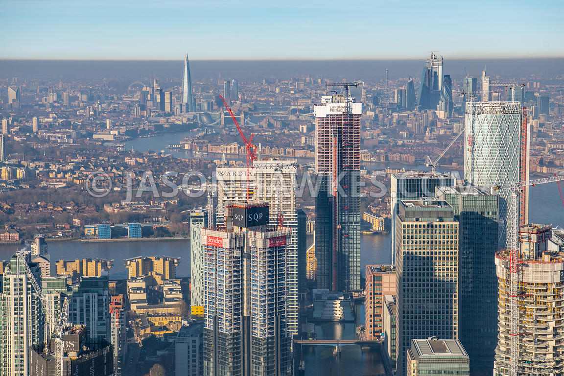 South Dock, Canary Wharf, London. Aerial view