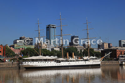 Puerto Madero docklands regeneration in Buenos Aires, Argentina with Presidente Sarmiento frigate
