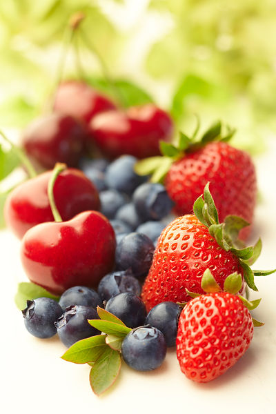 Cherries, blueberries, strawberries