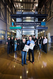 Newsprinters, News International Print Plant, Eurocentral, Scotland..January 2013.Pictured are George Donaldson (black jumper...
