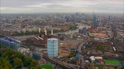 Aerial footage of Battersea Power Station and Nine Elms regeneration site, London