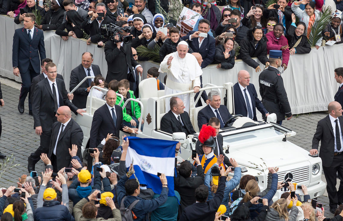 Pope Francis in the Popemobile on Palm Sunday