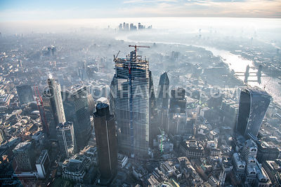 Dawn aerial view of thr City of London and 22 Bishopsgate, London.