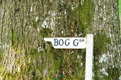 Sign to the bog garden. Forde Abbey, nr Chard, Dorset, UK