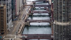 Bird's Eye: Close Up - Tour Boats, Drawbridges & Traffic - A Marriage of the Chicago River & Upper Wacker Drive