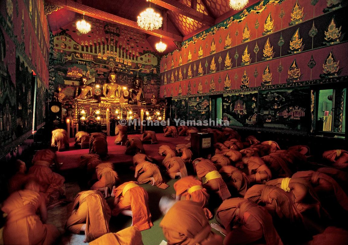 Monks of Wat Phanan Choeng dedicate their prayers to their god of prosperity, San Bao, as Zheng He is known here. He is also ...