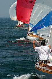 S-boats running back to the finish line, 1st race Herreshoff Rendezvous, 2004