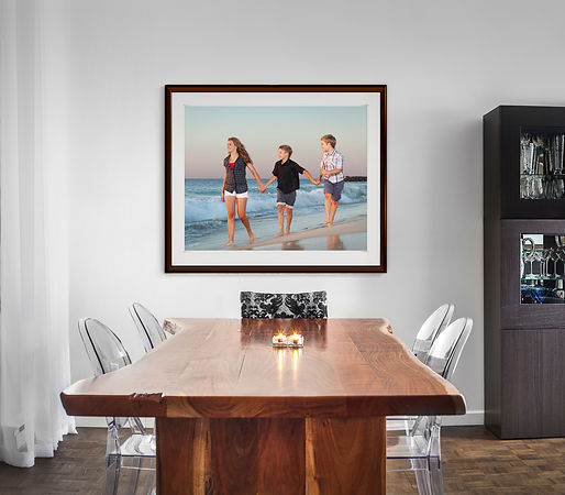26492592 - modern and contemporary dining room table and decorations with blank wall for your text, image or logo.