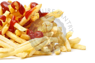 Lunch time with french fries on white background Close-up