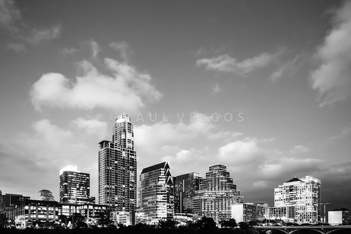 Austin Skyline Black and White Photography