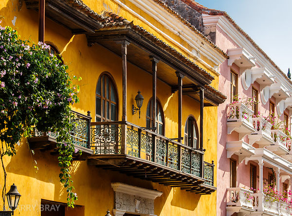 Balconies on coloured historic buildings in Cartagena, Colombia, South America
