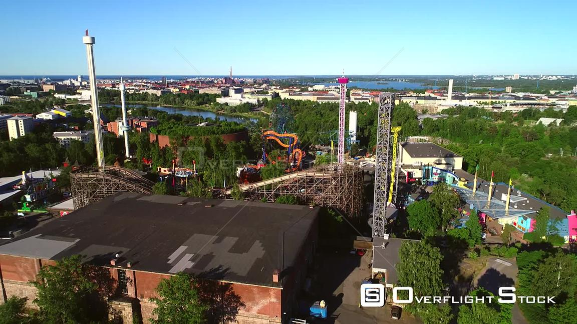 Linnanmaki, Aerial Rising Tilt View of the Helsinki Amusement Park, on a Sunny Summer Morning Dawn, in Helsingfors, Uusimaa, ...