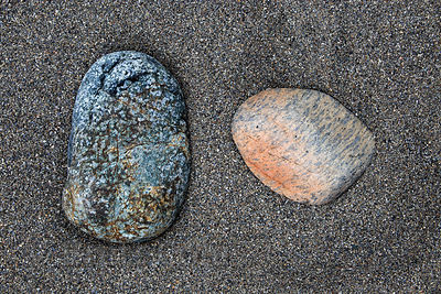 Stones on the sandy banks of the Smith River, Jedidiah Smith Redwoods State Park, California