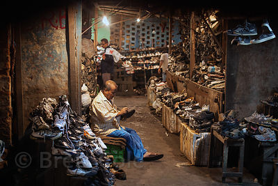 Amazing shoe market in Bowbazar, Kolkata, India.