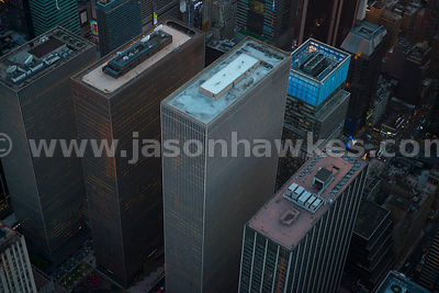 "Aerial view of three skyscrapers in the Rockefeller Center complex, collectively known as the ""XYZ Buildings"""