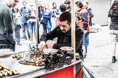 Roasting chestnuts near the spice market, Istanbul