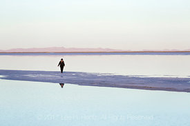 Woman with Water Reflections on the Bonneville Salt Flats