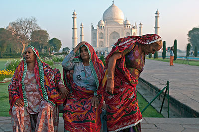 This portrait of Haryanvi women resting was shot against the backdrop of Taj Mahal, Agra