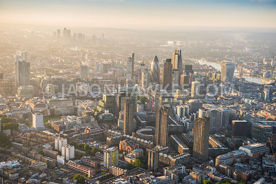 Aerial view of City of London, London Wall.