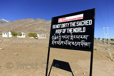 Sign asking people not to litter near Hemis Gompa, Ladakh, India. This part of the Himalayas is a cold desert, and garbage is...