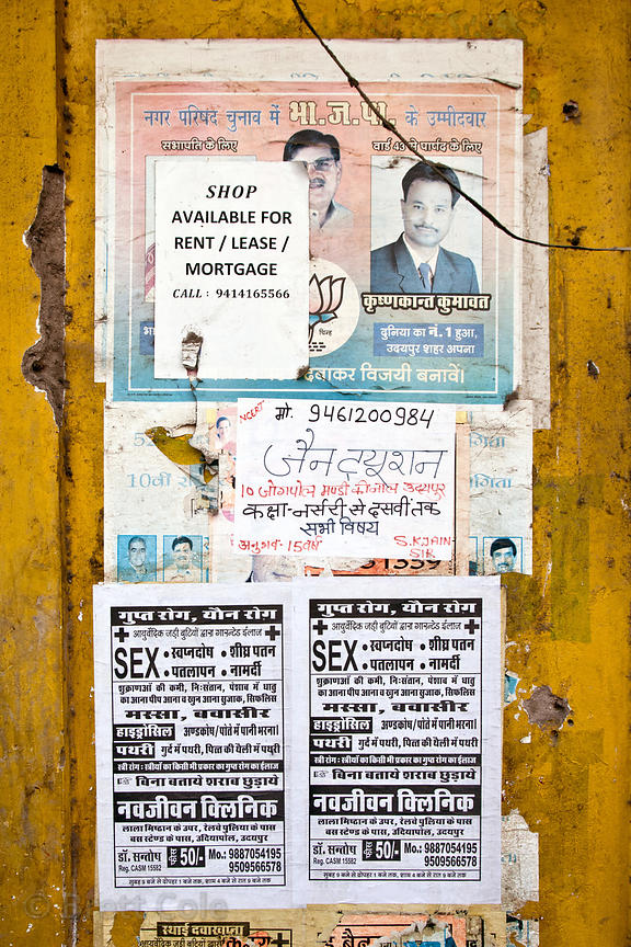 Posters with the English word Sex, Bharatpur, Rajasthan, India