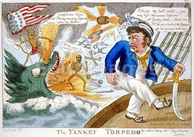 War of 1812 cartoon about American torpedoes