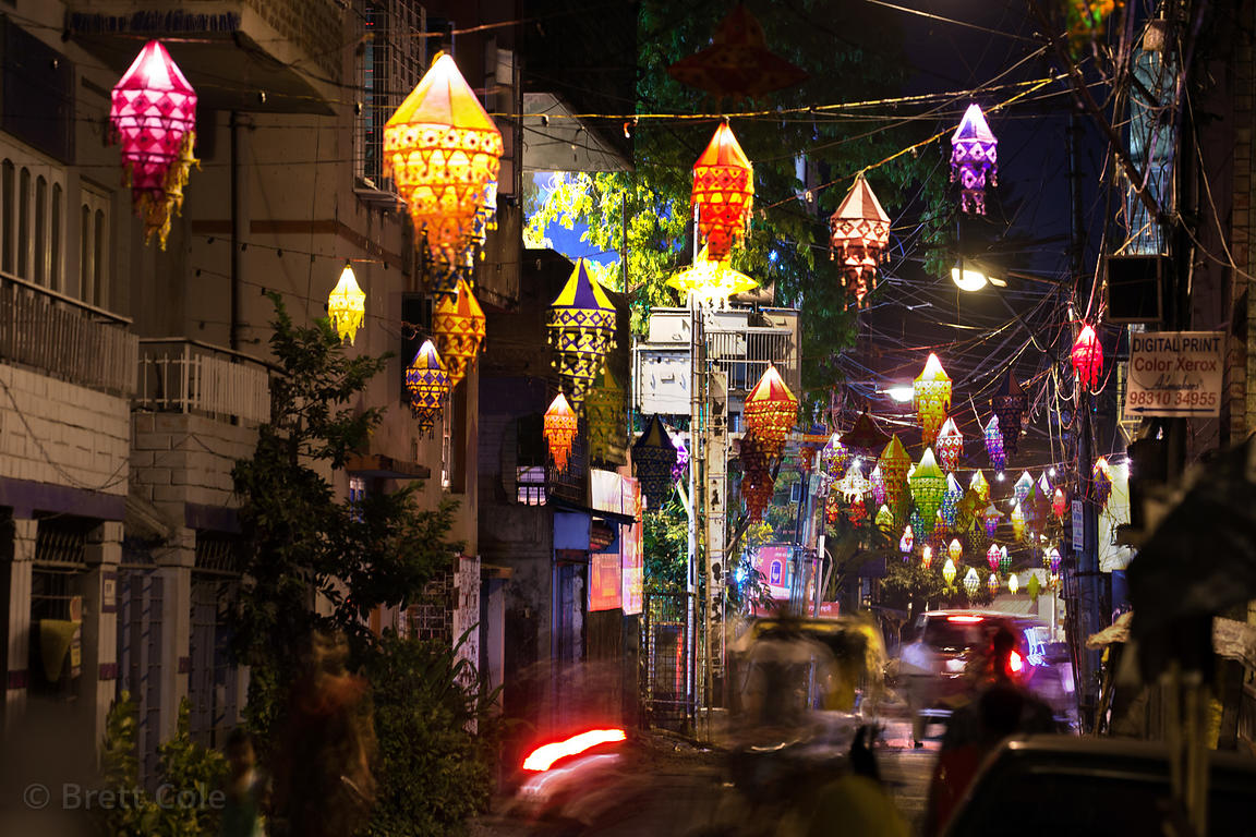 Lanterns illuminate the neighborhood of Lord's More during the Durga Puja festival, Kolkata, India.