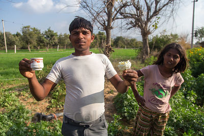 Flower farming family, Surajkund village, Rajasthan, India