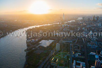 Aerial view of Shadwell and Wapping at dusk, London