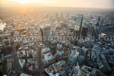 Aerial view of sunset over the City, London