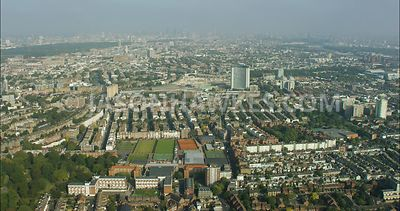 London Aerial Footage of West London, Queens Club and Earls Court.