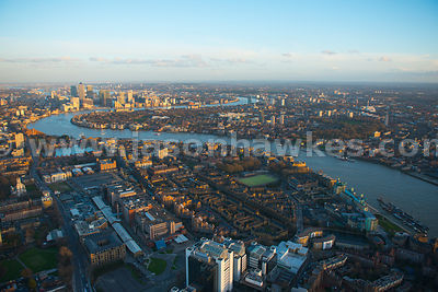 Aerial view of Wapping looking towards Canary Wharf, London