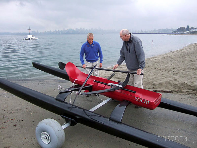 Richard prepares ROCAT #2 for its maiden voyage - the Vancouver skyline is in the background
