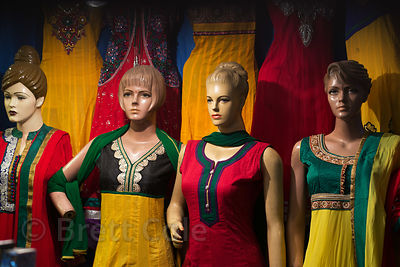Mannequins model saris at a boutique, Bangali Tola, Varanasi, India