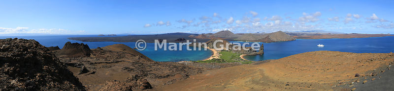 Panoramic view of Bartolome and Pinnacle Rock, with Santiago beyond, from viewpoint on Bartolome, Galapagos Islands