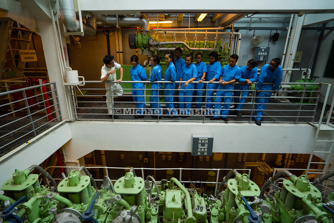 Year 1 Marine Engineering students query lecturer Mr. Ng Guo Yi on the finer aspects of maintaining the ship's engine in ship...
