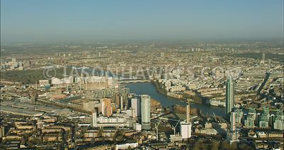 London Aerial Footage of Nine Elms and Vauxhall.