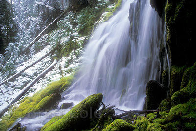 Upper Proxy Falls in snow, Three Sisters Wilderness, Oregon Cascades.