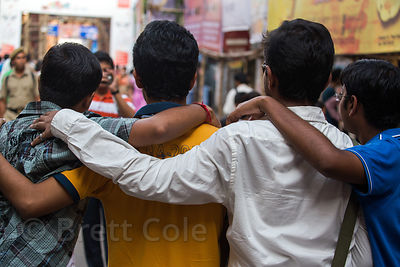 Friends in Ballygunge, Kolkata, India. Public display of affection between males is common in India.