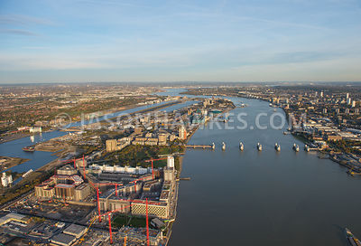 Aerial view, City Airport Runway, London City Airport, North Woolwich, river thames, Royal Albert Dock, Silvertown, Tate & Lyle Factory, Thames Barrier Park, The Thames Barrier, London.