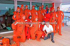 Crew fitted out in emersion suits