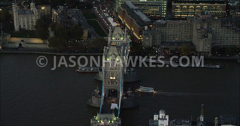 London Aerial Footage of Tower Bridge with Tower of London.