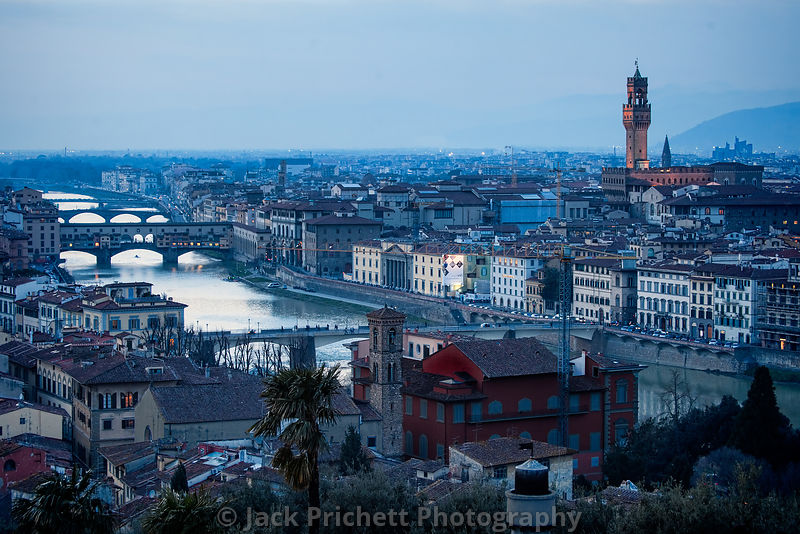Panorama of Florence skyline at evening